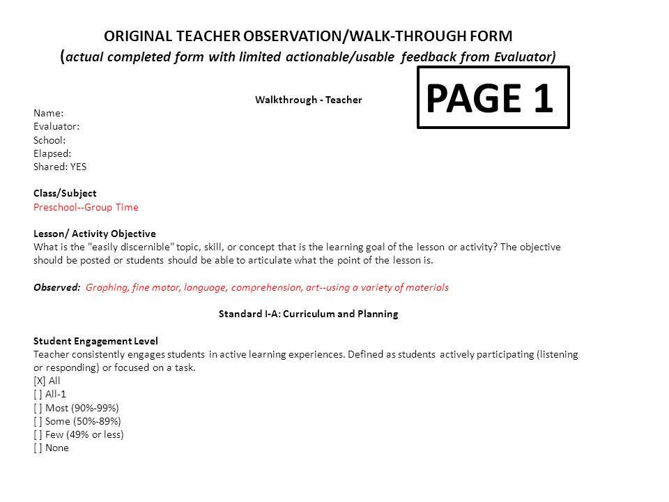 PAGE 1 ORIGINAL TEACHER OBSERVATION/WALK THROUGH FORM