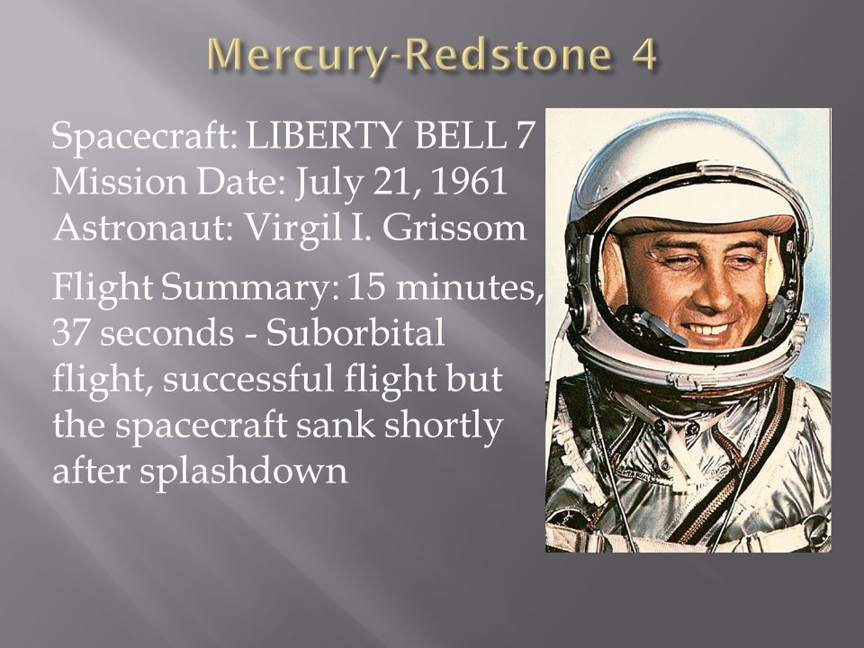Mercury-Redstone 4 Spacecraft: LIBERTY BELL 7 Mission Date: July 21, 1961 Astronaut: Virgil I. Grissom.