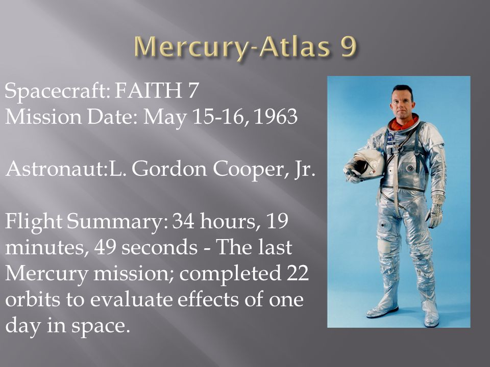 Mercury-Atlas 9 Spacecraft: FAITH 7 Mission Date: May 15-16, 1963