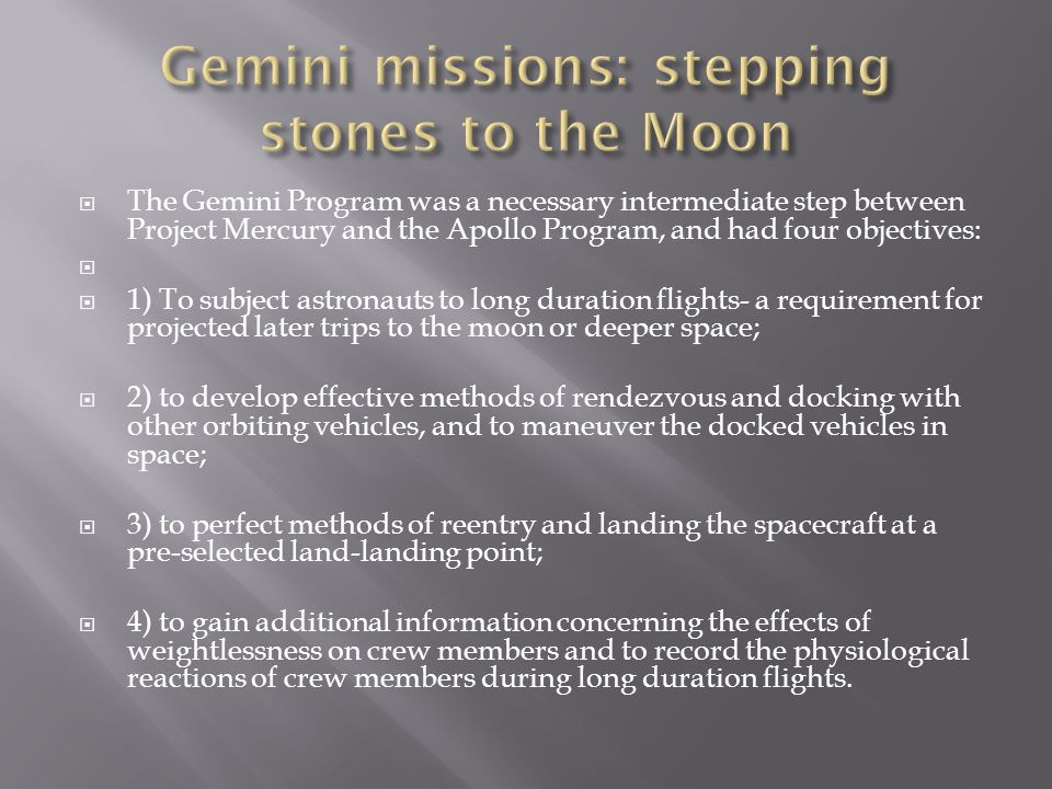 Gemini missions: stepping stones to the Moon