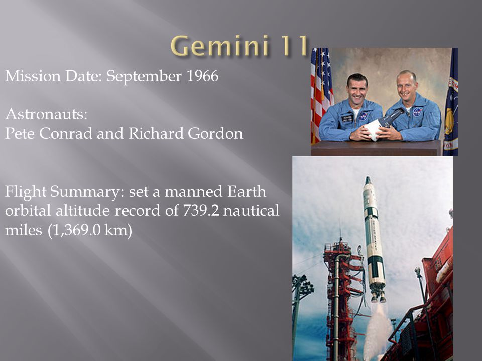 Gemini 11 Mission Date: September 1966 Astronauts: