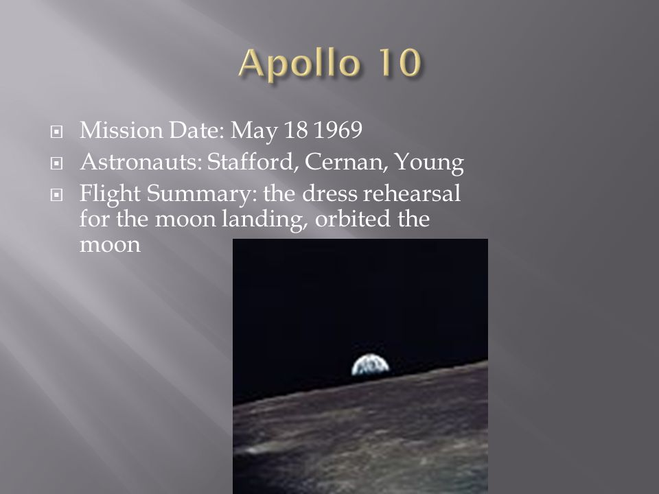 Apollo 10 Mission Date: May