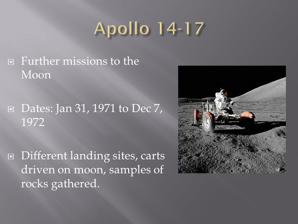 Apollo Further missions to the Moon