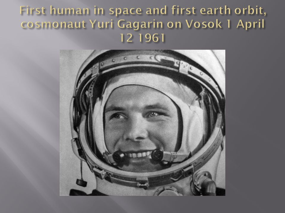 First human in space and first earth orbit, cosmonaut Yuri Gagarin on Vosok 1 April