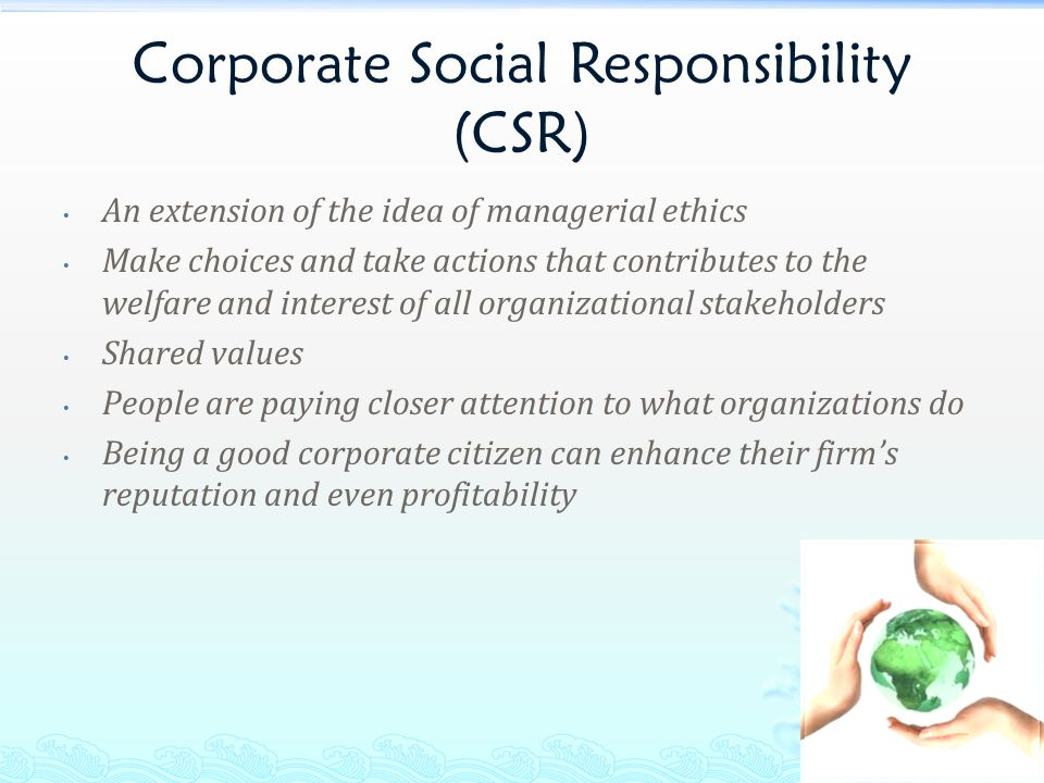 corporate social responsibility and corporate culture Corporate social responsibility  some areas of corporate culture have begun to embrace a philosophy that balances the pursuit of profit with a commitment to.