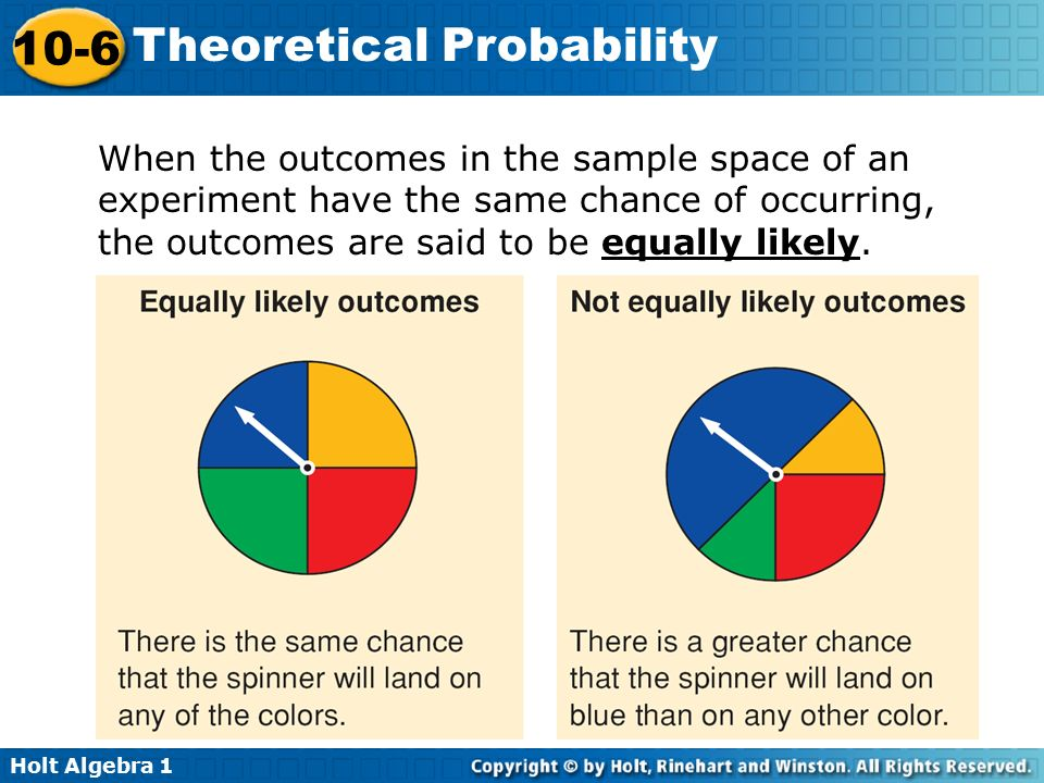 When the outcomes in the sample space of an experiment have the same chance of occurring, the outcomes are said to be equally likely.