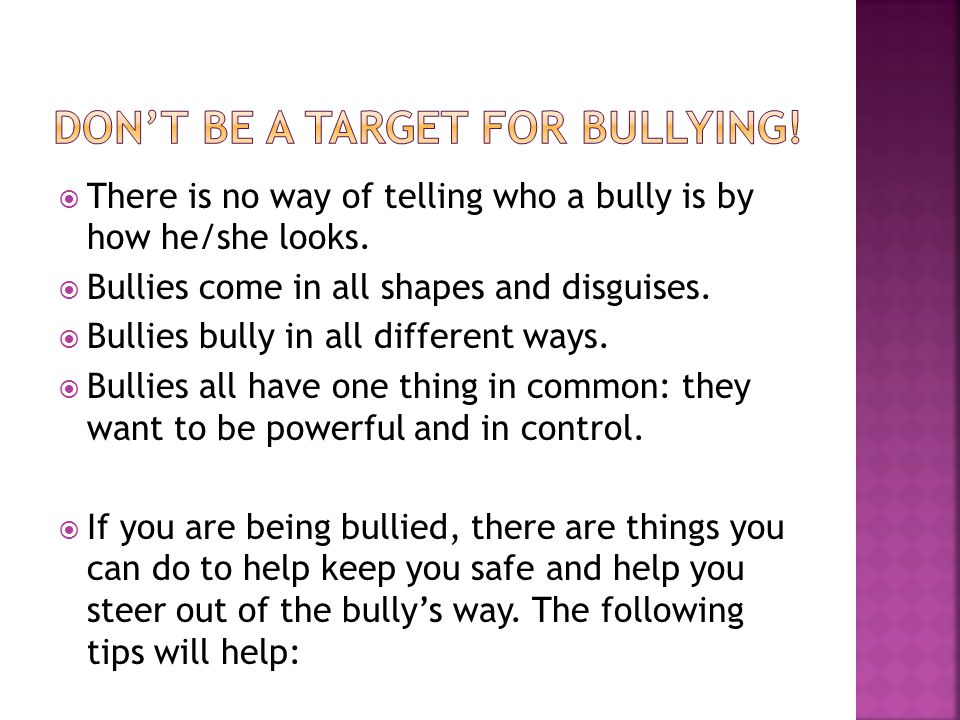 how to avoid being a bully