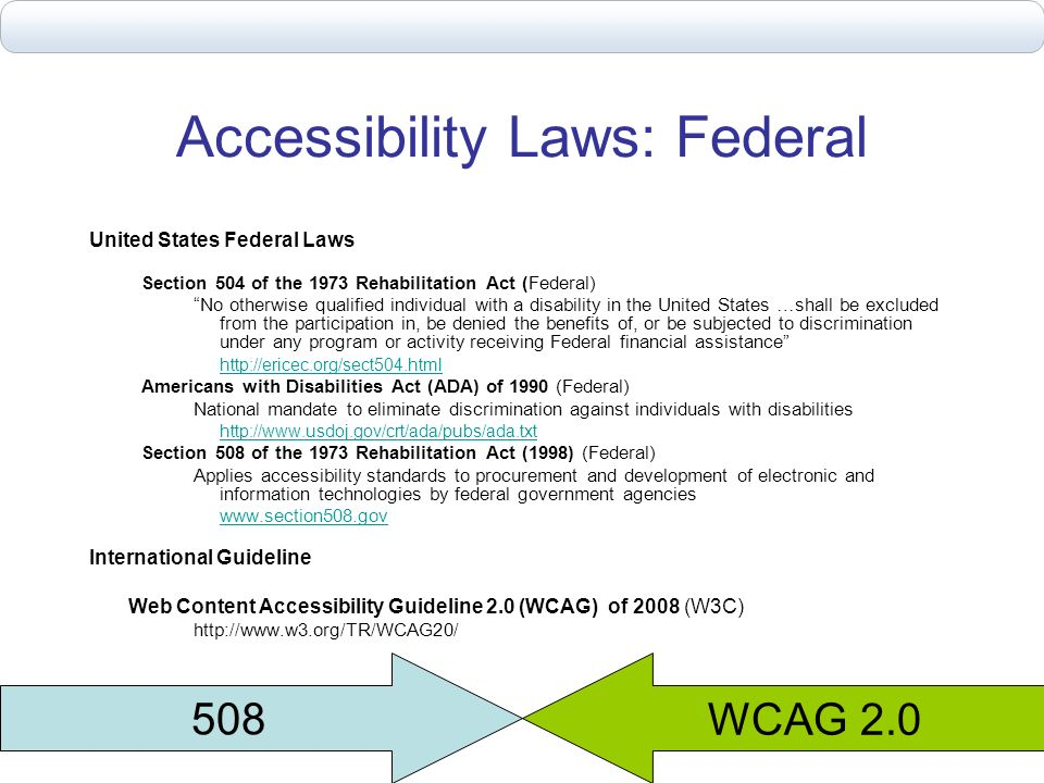 Accessibility Laws: Federal