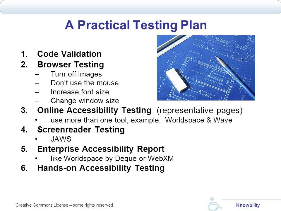 A Practical Testing Plan