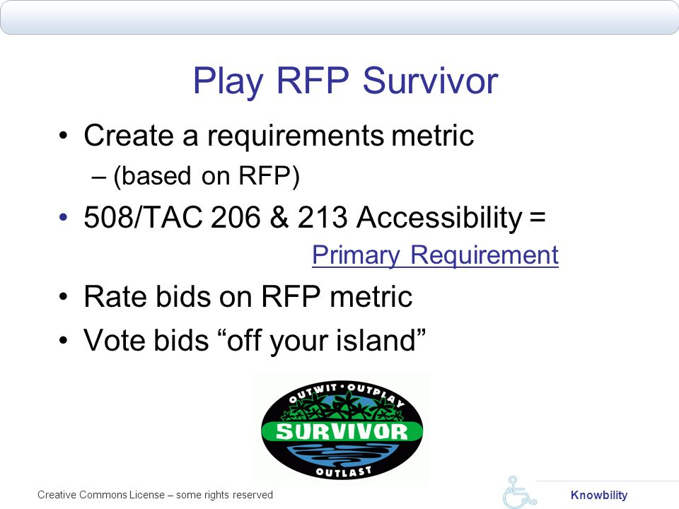Play RFP Survivor Create a requirements metric