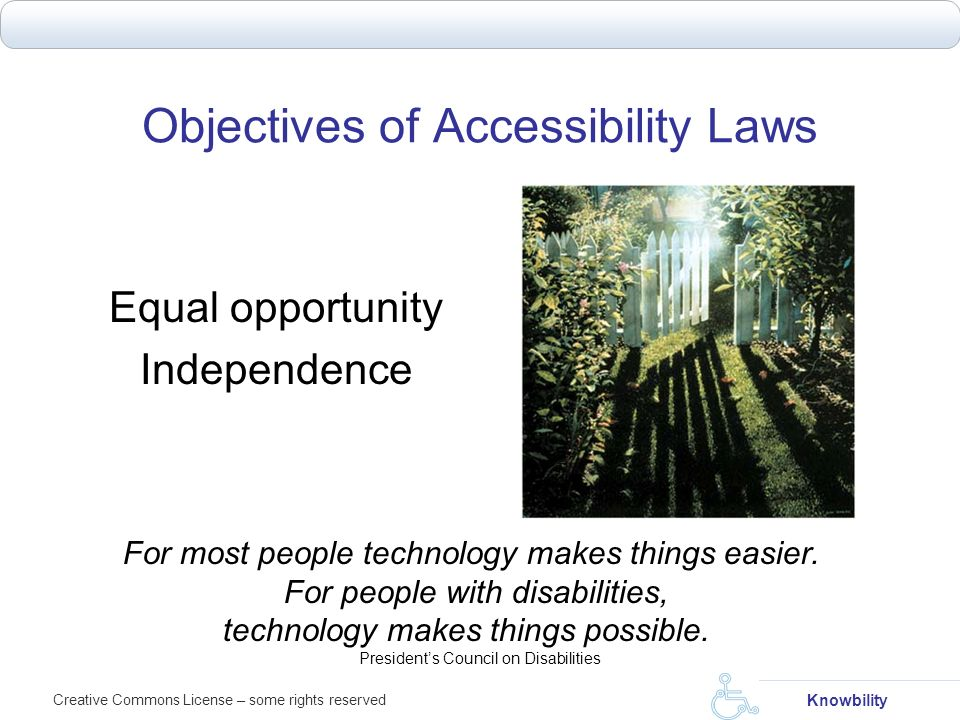 Objectives of Accessibility Laws