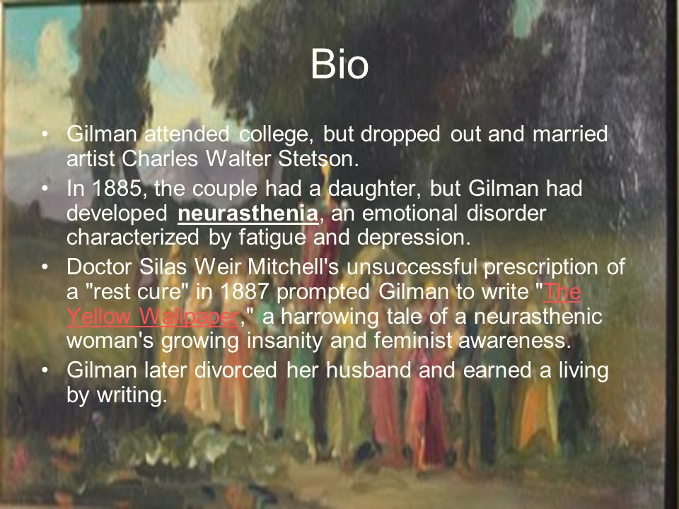 the themes of depression and insanity in the yellow wallpaper by charlotte perkins gilman A summary of themes in charlotte perkins gilman's the yellow wallpaper learn exactly what happened in this chapter, scene, or section of the yellow wallpaper.