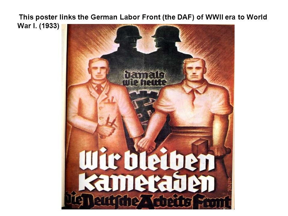 This poster links the German Labor Front (the DAF) of WWII era to World War I. (1933)