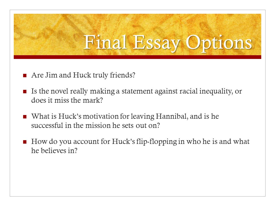 jim and hucks relationship essay Leslie fiedler obligingly provided it when he read homoerotic attraction into the relationship between huck and jim, pointing out the similarity.