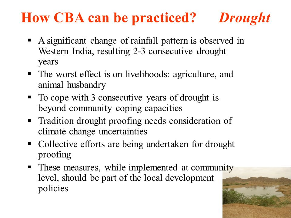 How CBA can be practiced Drought