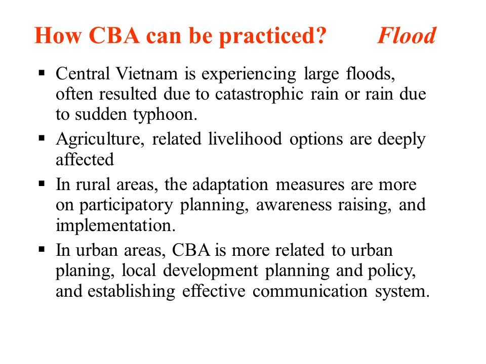 How CBA can be practiced Flood