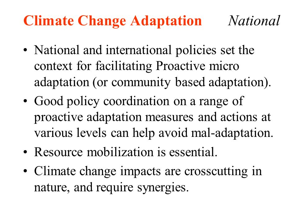 Climate Change Adaptation National