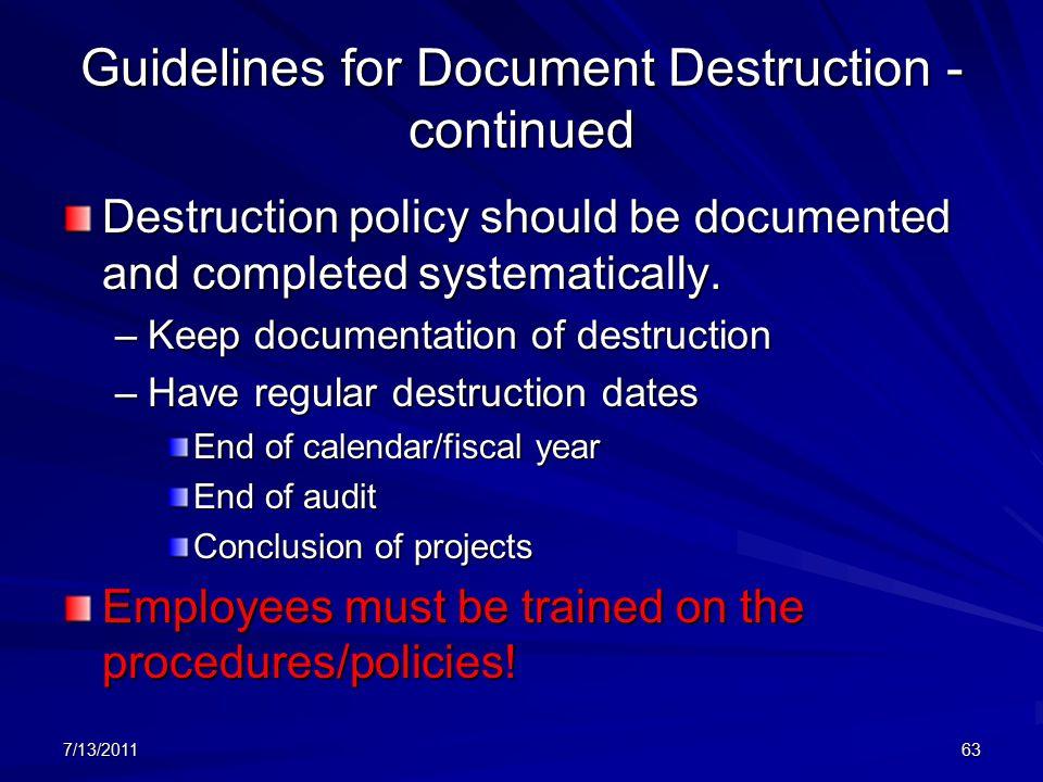 document retention and destruction guidelines
