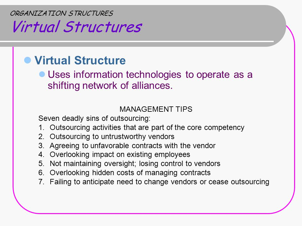 ORGANIZATION STRUCTURES Virtual Structures