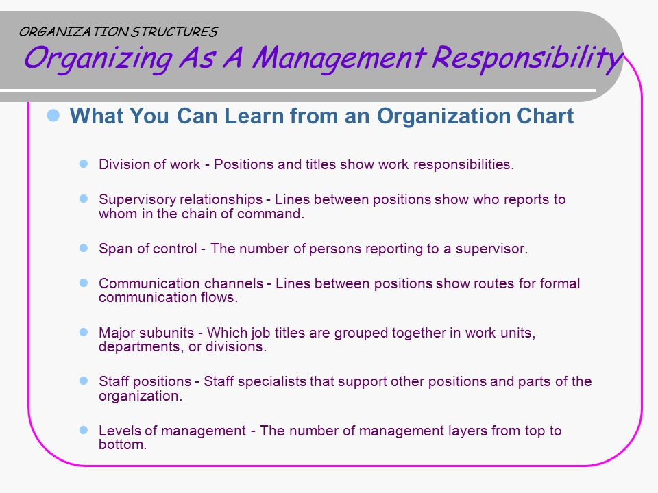 ORGANIZATION STRUCTURES Organizing As A Management Responsibility