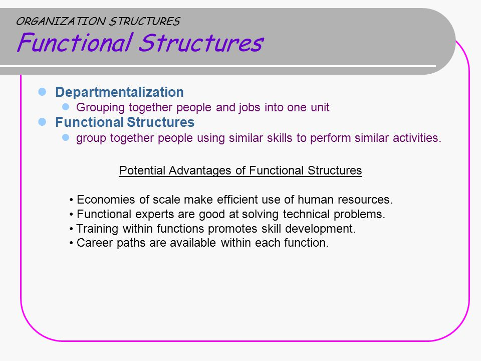 ORGANIZATION STRUCTURES Functional Structures