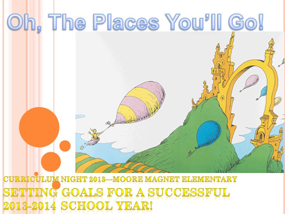 Oh, The Places You'll Go. Curriculum Night 2013—Moore magnet elementary.