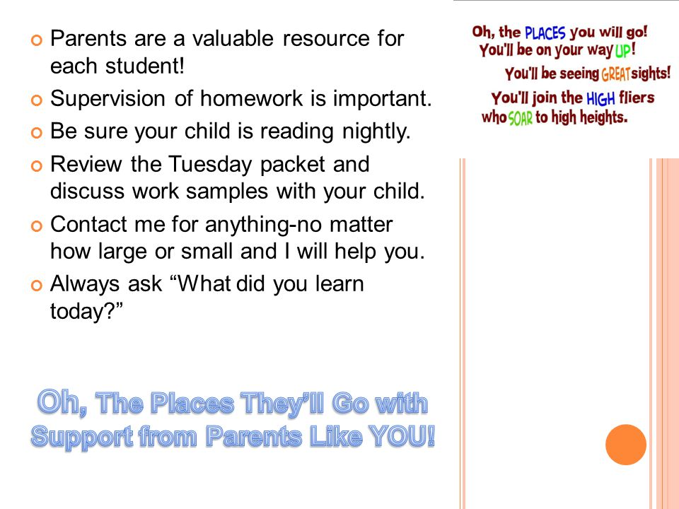 Oh the places they'll go…with help from parents like you!
