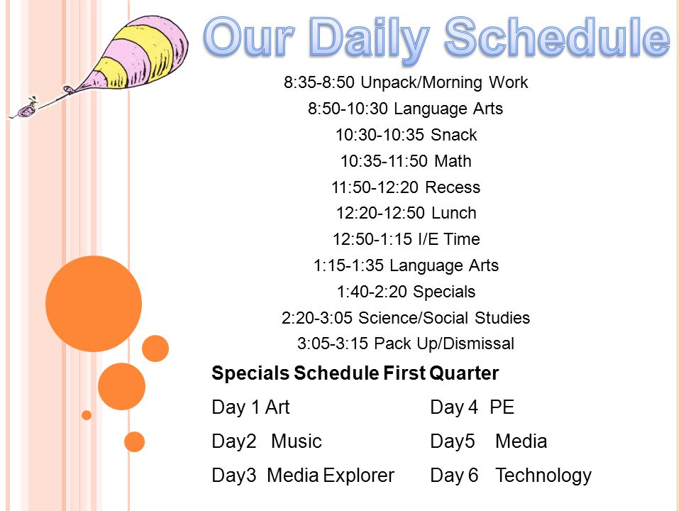 Our Daily Schedule Specials Schedule First Quarter Day 1 Art Day 4 PE