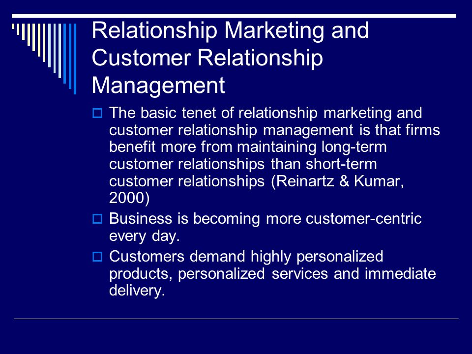 Customer Relationship Management (CRM) and Marketing
