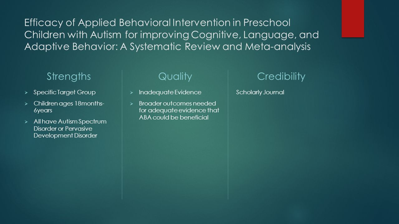 Efficacy study autism online
