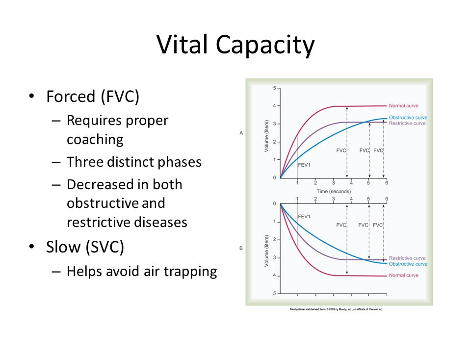 Vital Capacity Forced (FVC) Slow (SVC) Requires proper coaching