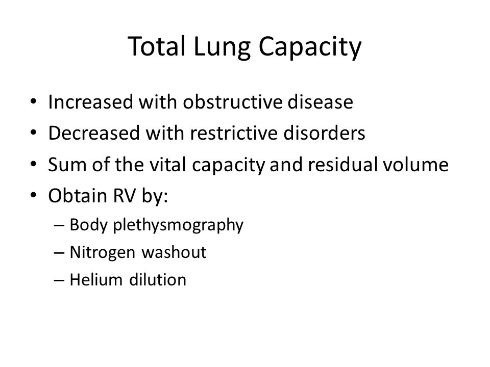 Total Lung Capacity Increased with obstructive disease