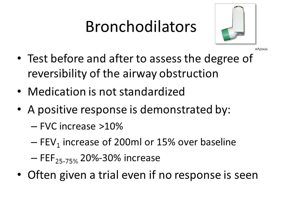 Bronchodilators Test before and after to assess the degree of reversibility of the airway obstruction.