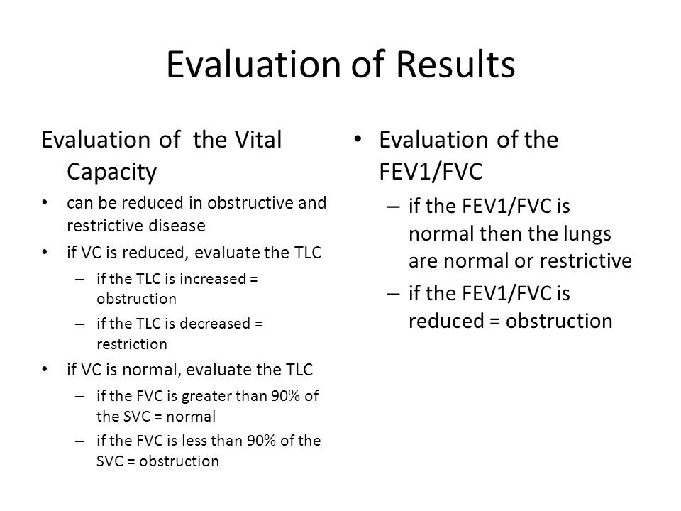 Evaluation of Results Evaluation of the Vital Capacity