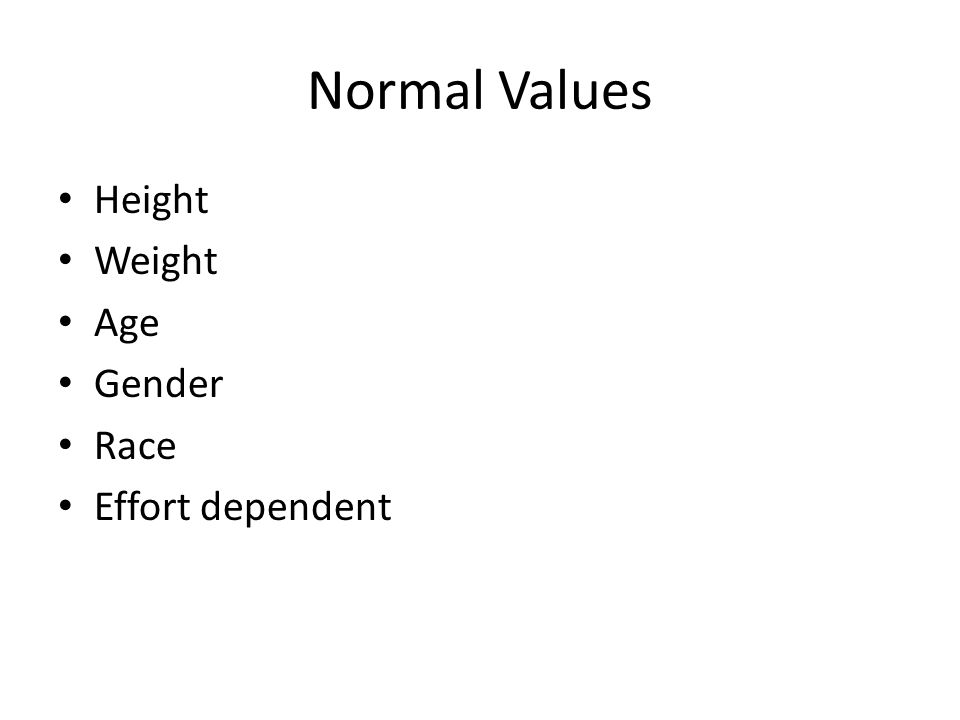 Normal Values Height Weight Age Gender Race Effort dependent