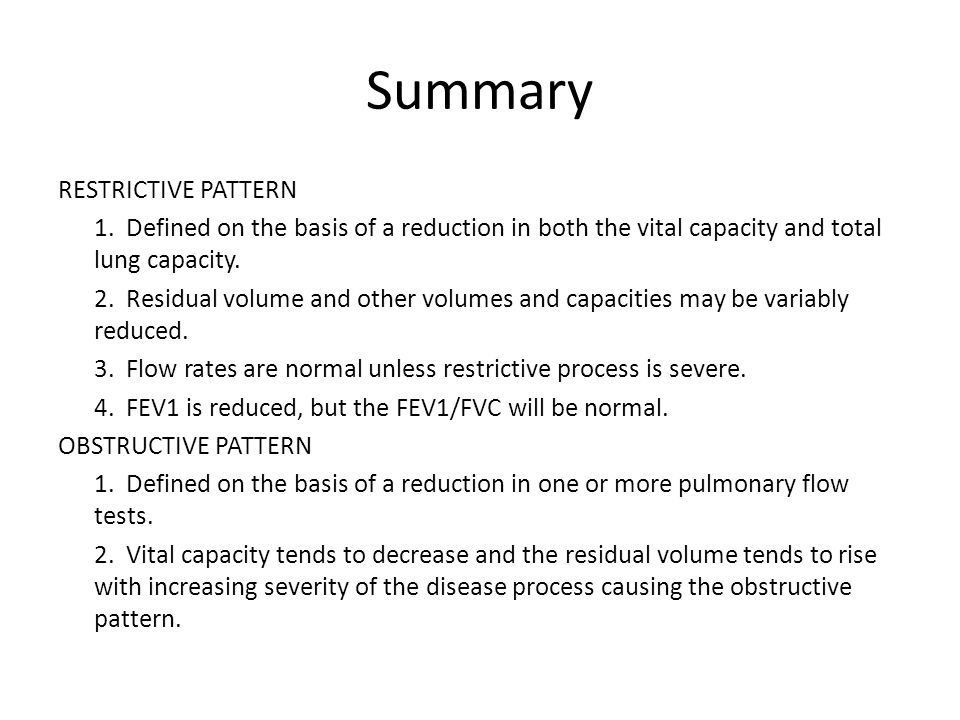 Summary RESTRICTIVE PATTERN