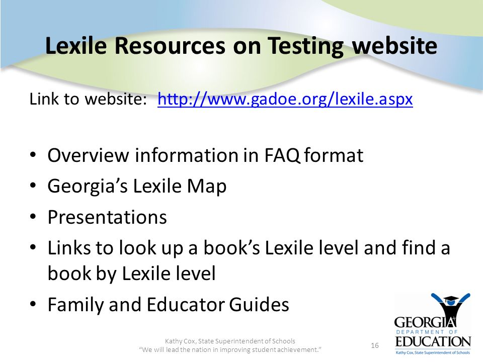Lexile Resources on Testing website