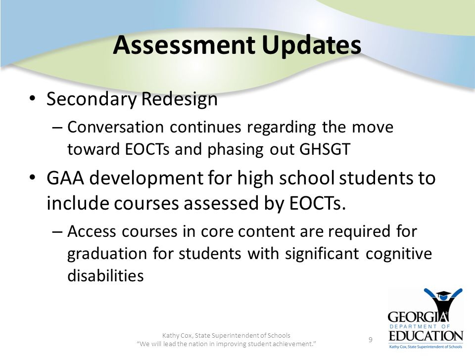Assessment Updates Secondary Redesign