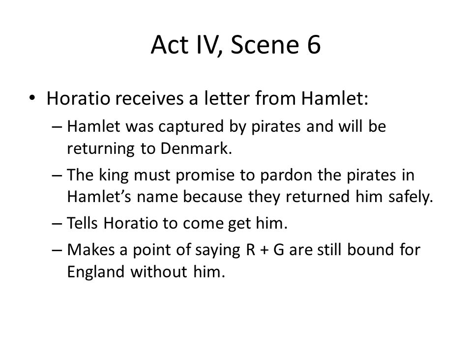 Hamlet S Letter To Horatio