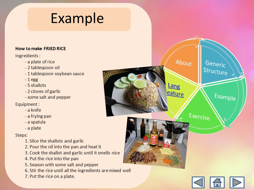 Procedure text ppt video online download example how to make fried rice ccuart Image collections