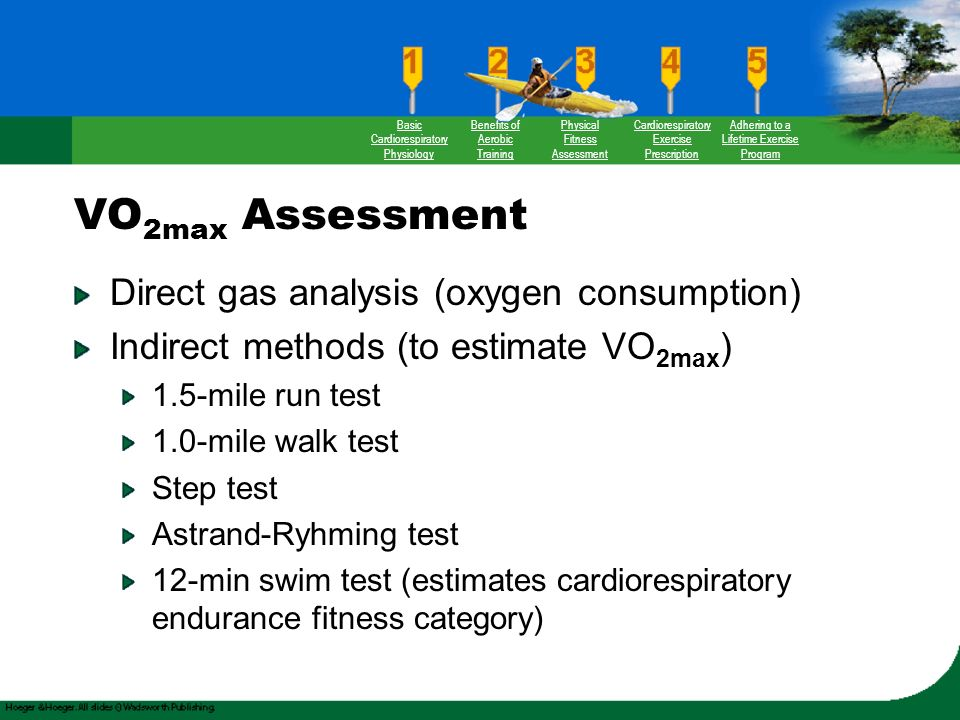 comparing tests for maximal oxygen consumption Fitness testing  tests  aerobic endurance  maximum oxygen consumption  norms vo 2max norms vo 2max is a measure of a person's aerobic fitness (see more on measuring vo 2max)the table below categorizes vo 2max scores for adult men and women of various ages.