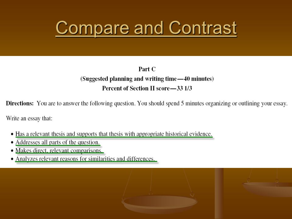 ap history compare and contrast thesis How to write a compare contrast thesis the following are some crucial points in writing a clear and analytic thesis for compare contrast essays ap world history.
