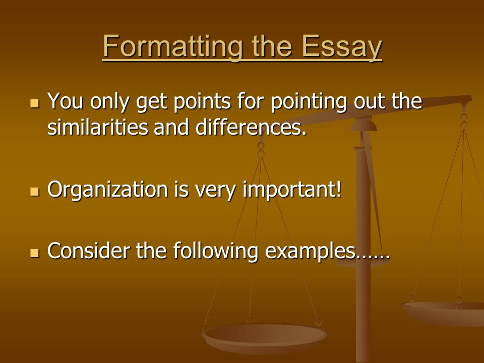 similarities and differences essay format A compare and contrast essay does two things: it discusses the similarities and  differences  you may structure the compare and contrast essay using either the .