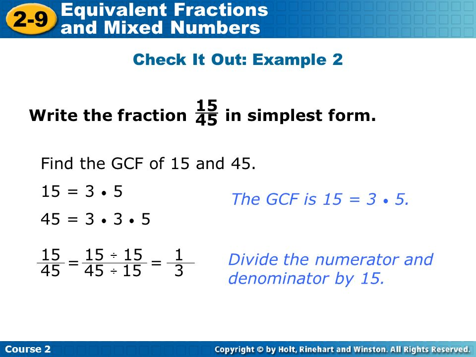 2-9 Equivalent Fractions and Mixed Numbers Warm Up Problem of the ...