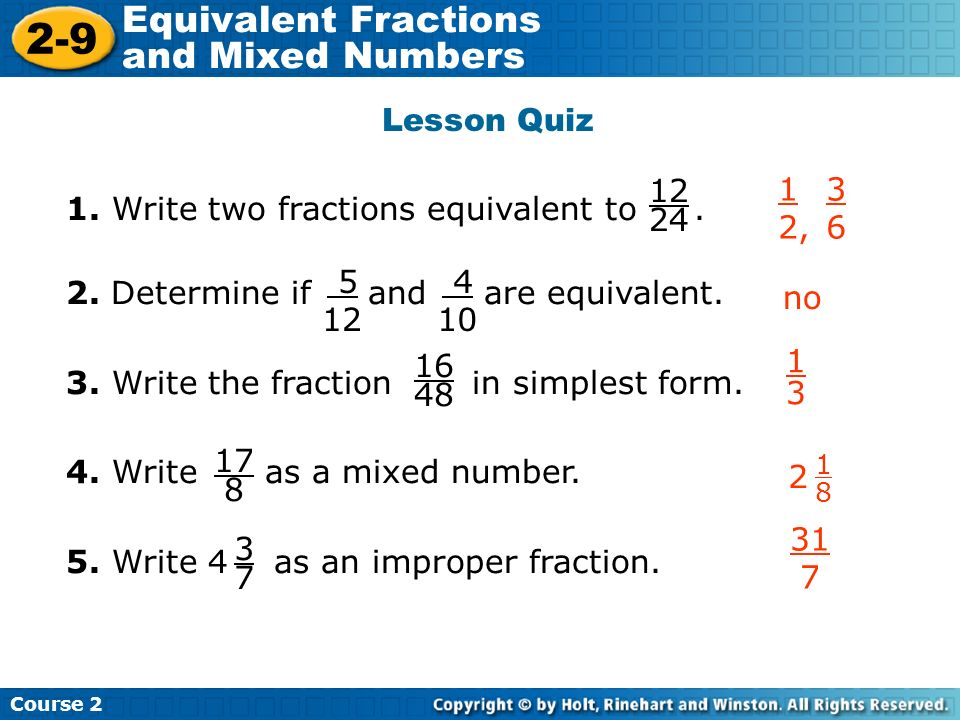 How to Write Two Fractions That Are Equivalent to a Given Fraction