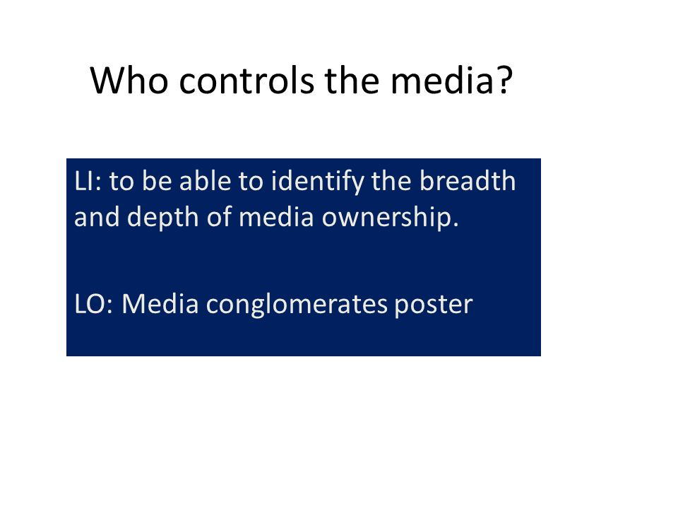 media ownwership and control Ownership and control of media in south africa, with particular focus on categorising trends by province and where possible by district municipality the main objectives of the project are:.