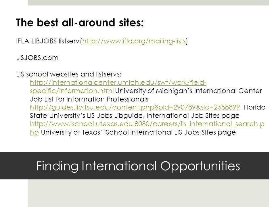 Finding International Opportunities