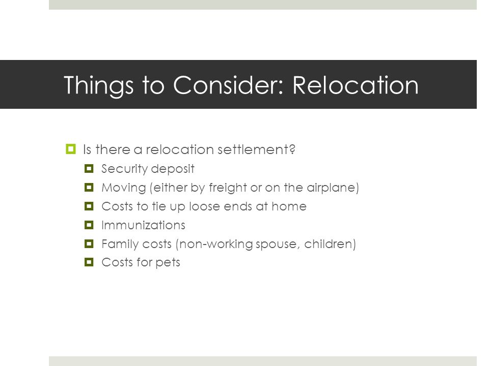 Things to Consider: Relocation
