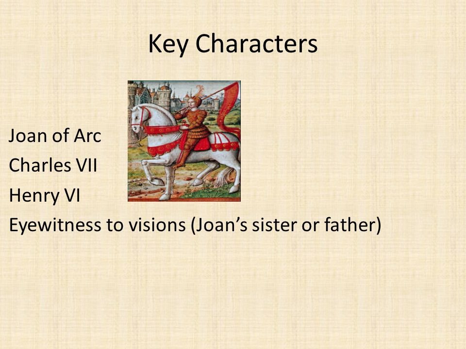 Key Characters Joan of Arc Charles VII Henry VI