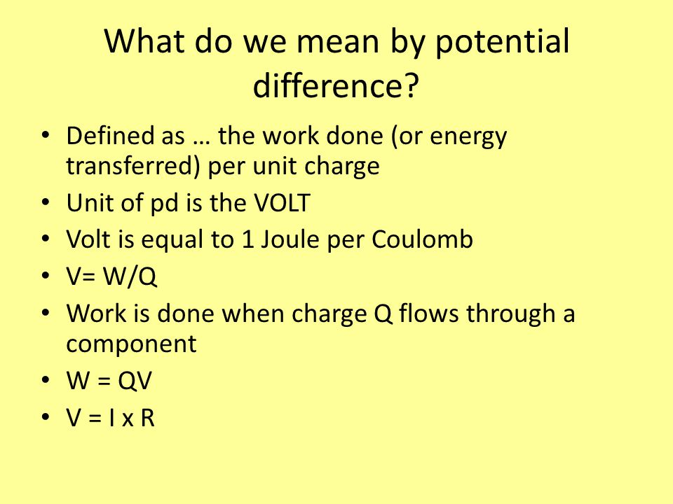 What do we mean by potential difference